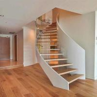 China American building code  unique design steel wood arc stairs with metal rails on sale