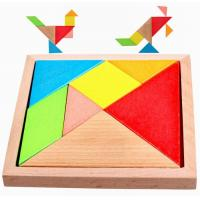 China Colorful Painted Natural Wooden Toys Funny Tangram Puzzle Toys 140 X 140 X 20 mm on sale