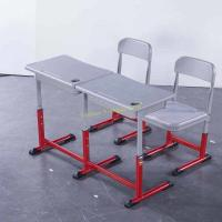 Quality Durable HDPE Metal Material Double Desk And Chair Set Customized Color for sale