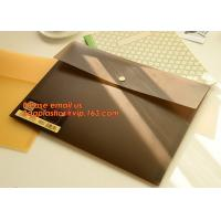 Quality PP Polypropylene Plastic Office Stationery, PP Translucent plastic button document file folder bag with line structure for sale