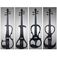 Buy Black Solid Basswood Left Handed Electric Violin With Inlaid Purfling at wholesale prices