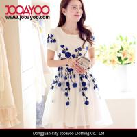 China Fit and Flare Elegant White and Blue Flower Embroidered Organza Sweety Girls Dress for sale
