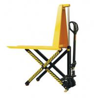 Quality Yellow Color Steel Scissor Lift Hand Pallet Truck , Manual Hydraulic Stacker Straddle Lift Truck for sale