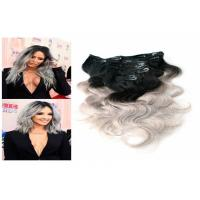 Quality Natural Black and grey 100% Clip In human Hair Extensions Silky Straight Human Hair for sale