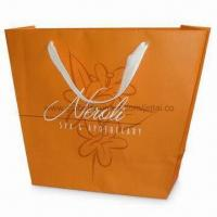 Quality Recycled Paper Bag with PP Rope Handle and Shinny/Matte Lamination, Available in Orange for sale