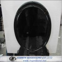 Quality Mirror Shaped Polished Black Granite Tombstone, Mongolian Black Granite Monuments for sale