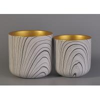 Quality Eco - Friendly Leopard Pattern Ceramic Candle Holders With Golden Painting Inside for sale