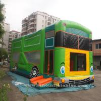 Quality Commercial grade giant bus inflatable bouncer with slide N pillars inside for kids fun entertainments for sale