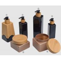 Quality 500ml 250ml 750ml 200ml  cosmetic plastic PET bottles and jar in bamboo pump for sale