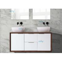 China Large Space Double Faucet Bathroom Sink Vanity Walnut Colour With Mirror on sale