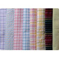 Quality 100% Cotton Yarn Dyed Latccice Plaid Seersucker Fabric For Garment for sale