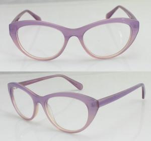 Quality Hand Made Women Oval Fashion Eyeglasses Frames , Pink Glass Frame for sale
