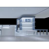 Buy Large Capacity Handbag Shop Display Counter Blue White MDF Coating Color at wholesale prices