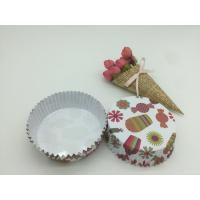 Quality Round Shape Paper Baking Cups PET Coated Film Candy / Flower Pattern Cupcake Liners for sale