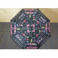 Quality Study Storm Proof Windproof Folding Umbrella With Letter Patterns Metal Tips for sale