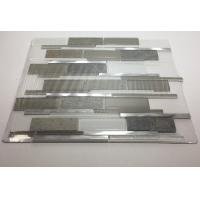 Quality Art Gray Select Glass Mosaic Tile Backsplash Mix Aluminum Mosaic Strip Shaped for sale