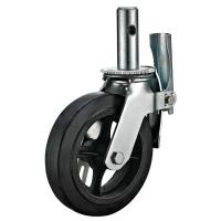 Quality 8 Inch Lockable Scaffold Caster Wheels With Black Rubber Wheel Swivel Stem Fitting for sale