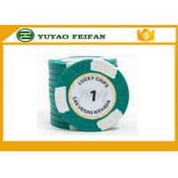 Quality Clay Two Block TEXAS HOLDEM Clay Poker Chips With Paper Stickers / Engraved Words for sale