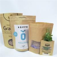 Quality Brown Custom Paper Bags Clear Front Windows Eco Friendly For Packing Dried Snack Food for sale