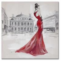 Buy 100% high quality hand-painted oil painting on canvas red dressing lady size in 60X60CM at wholesale prices