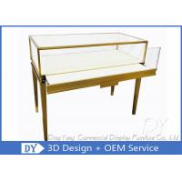 Buy cheap Gold Color Modern Glass Jewellery Counter Display With Lockable LED Lights from wholesalers