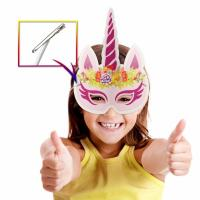 Quality Party Rainbow Unicorn Paper Mask For Kids Glitter Surface Finishing for sale