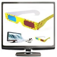 Quality Customed Stylish yellow frame Paper Red Blue Cyan 3 D Dimensional glasses for women for sale