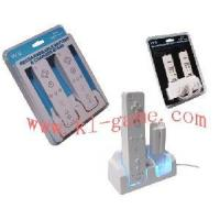 Quality Blue Light Double Charge Stand for Wii(With 2 PCS 2800mah Rechargeable Battery)(HYS-MW080) for sale