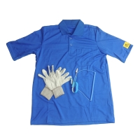 Quality EN 61340 Static Dissipative ESD T Shirt With 10E6-8 Antistatic Glove for sale