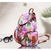 Quality Teenager Girls Canvas Fashion Ladies Backpack Floral Design For Short Trips for sale