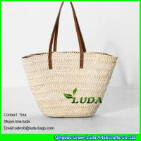 Quality LUDA leather handles straw handbags wholesale cornhusk straw handbags for sale