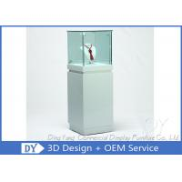 Quality OEM Square White Glass Jewelry Display Cases / Lockable Jewellery Display Cabinet for sale