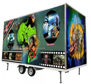 Quality Flexible Mobile 5D Cinema With Trailer And 12 Red Motion Electric Seats for sale