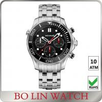 Quality Custom Water Resistant Sports Watch 10 Atm Chrono 42mm Size Stainless Solid Band for sale