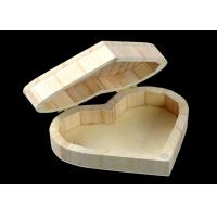 Quality Cover Top Heart Shaped Wooden Box , Wooden Crate Gift Box For Rings Wedding Gift for sale