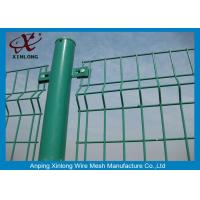 Quality Green Vinyl Coated Welded Wire Mesh Fence Panels 3D Curved Hook Style for sale