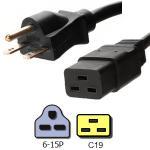 Quality NEMA 6 15P to IEC C19 Plug Power Cord 14 AWG 15A 250V UL Certification for sale