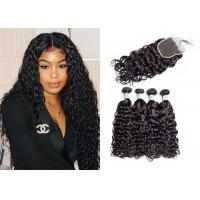 Quality 4 Pcs Brazilian Water Wave Hair Bundles With Closure Double Sewed Weft for sale