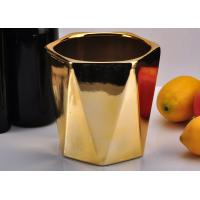 Quality Gold Color Hexagon ceramic candle containers , decorative candle holders For Candle Wax for sale