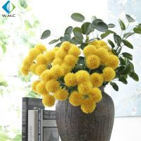 China Yellow White Fake Flower Bouquet , Ball Shape Artificial Chrysanthemum Flowers on sale