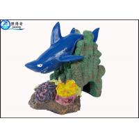 Quality Blue Little Shark Personalised Large Fish Tank Ornaments Decorations with Polyresin for sale