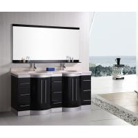 Quality Artificial Stone Eased Edges Double Vanity Countertops And Sinks Black Color for sale