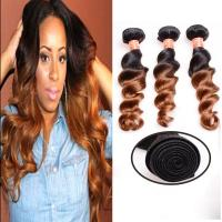 Buy Soft And Silky Body Wave Human Hair Ombre Extensions , Black And Blonde Dip Dye at wholesale prices