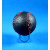 Quality Novelty Red Line + Black Real Leather Front Racing Gear Knob Ball Shape for sale