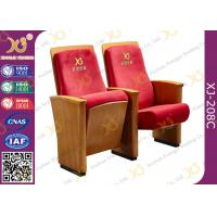 Quality High-end Red Fabric Auditorium Chairs With Folded Writing Tablet for sale