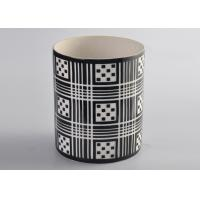 Quality Black Pattern Decal Cylinder Ceramic Porcelain Candle Holders Customized for sale