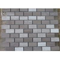 Quality Athen Grey + Snow White Marble Mosaic Tile Sheets 7-12mm Thickness Anticorrosive for sale