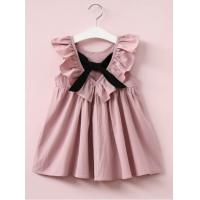 China 1-6year grils  deep v-neck bowknot falbala pleated dress for sale