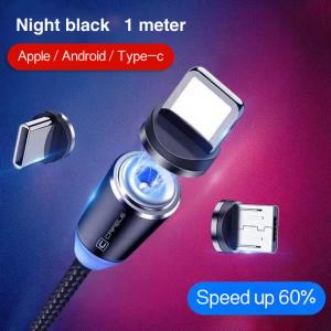 Quality 1M Cell Phone 3 In 1 Magnetic Braided Charging Micro Magnetic Usb Cable High Quality 3 in1 Fast Charger Cable Line for sale