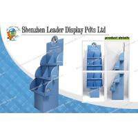 Quality Three Tier Heavy Duty Corrugated Cardboard Floor Display Stands With 6 Pockets for sale